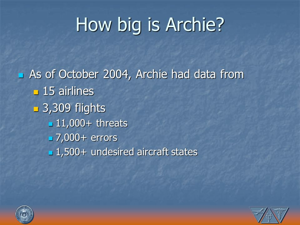How big is Archie As of October 2004, Archie had data from