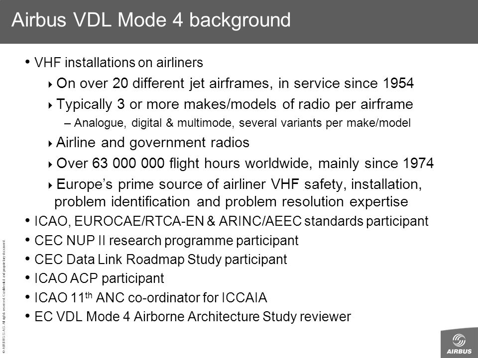 Airbus VDL Mode 4 background