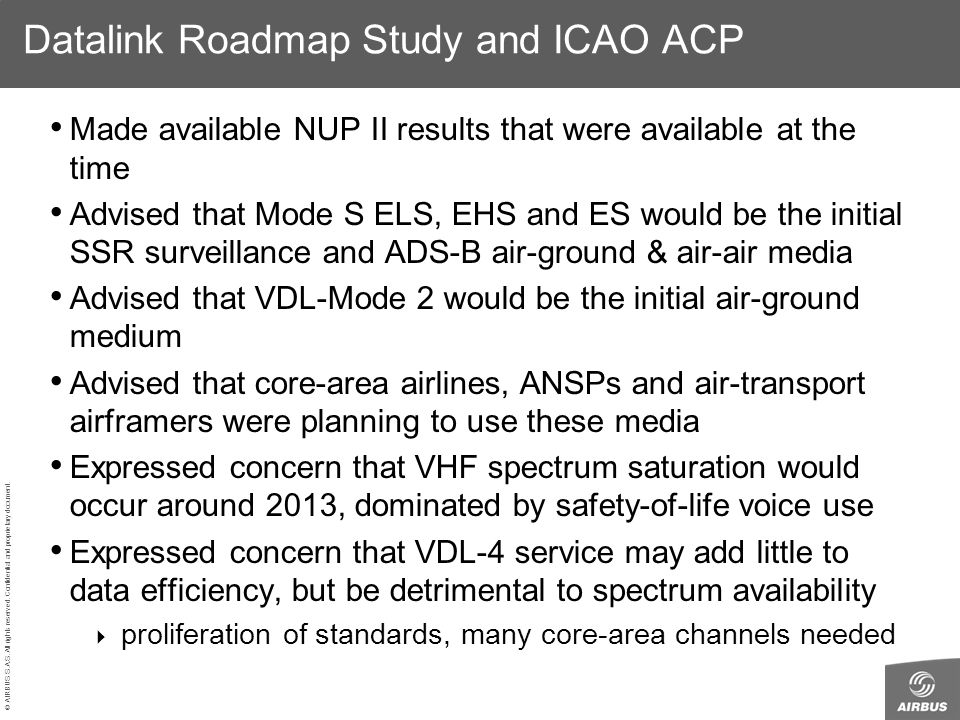 Datalink Roadmap Study and ICAO ACP