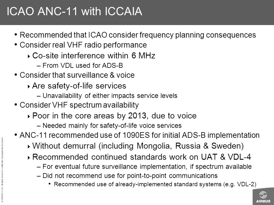 ICAO ANC-11 with ICCAIA Co-site interference within 6 MHz