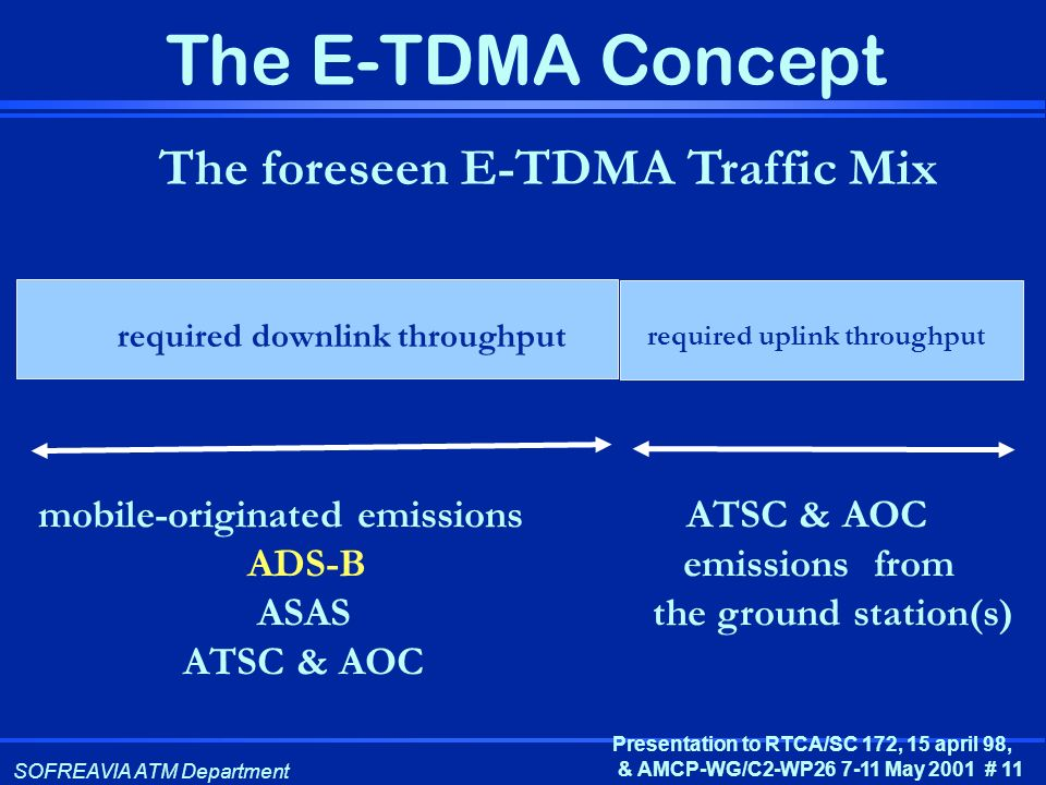 The foreseen E-TDMA Traffic Mix