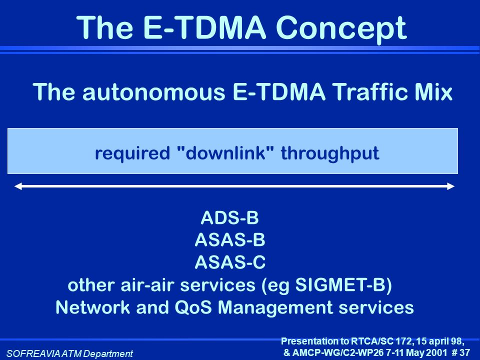 The autonomous E-TDMA Traffic Mix