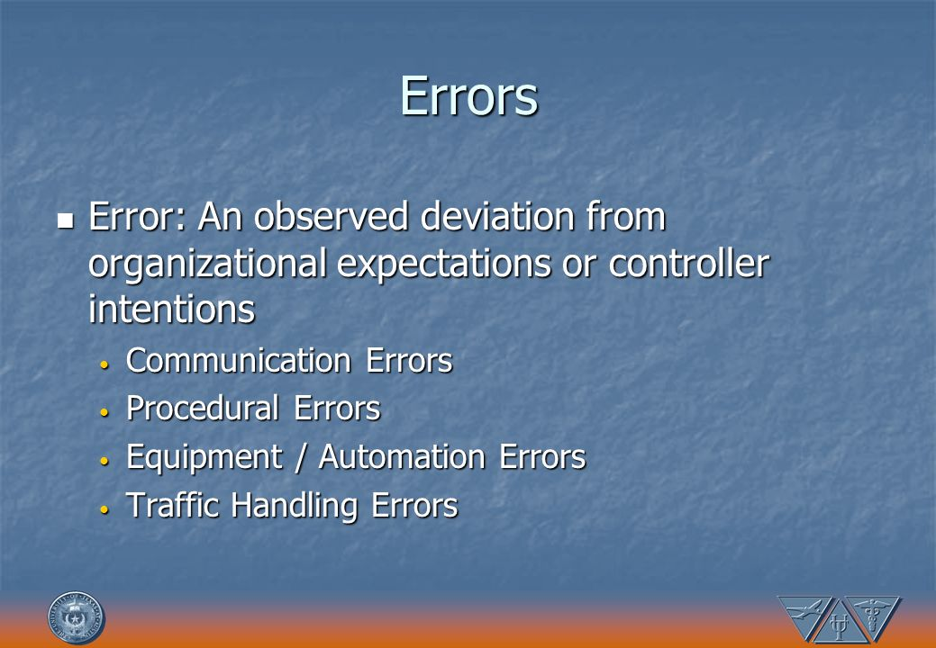 Errors Error: An observed deviation from organizational expectations or controller intentions. Communication Errors.