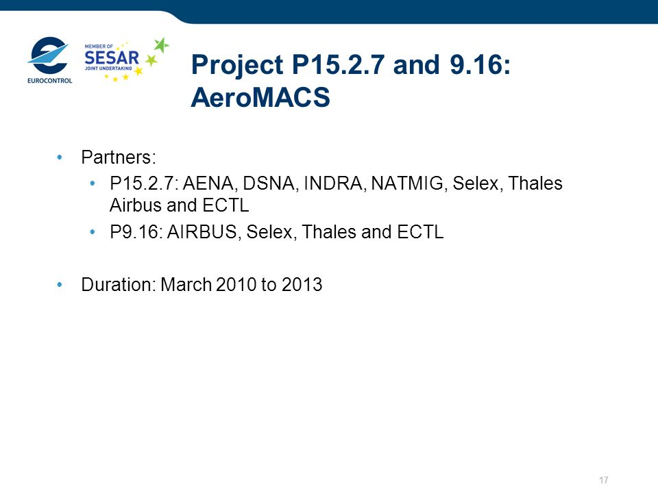 Project P15.2.7 and 9.16: AeroMACS
