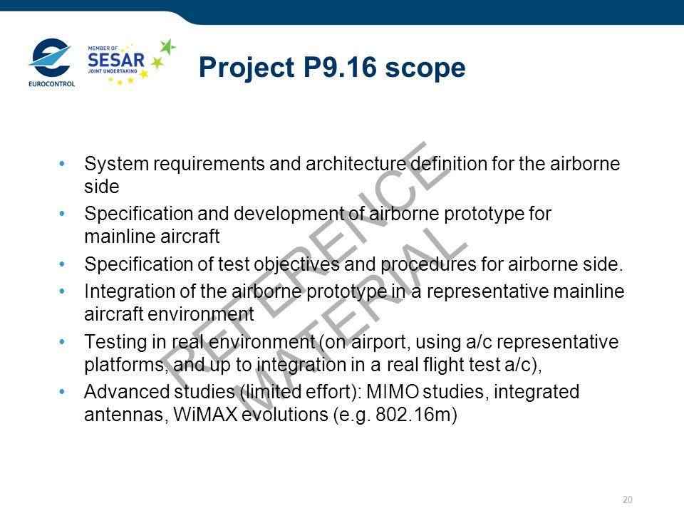 REFERENCE MATERIAL Project P9.16 scope