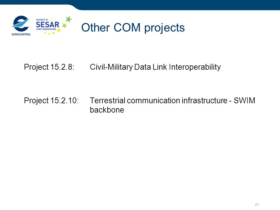 Other COM projects Project 15.2.8: Civil-Military Data Link Interoperability.