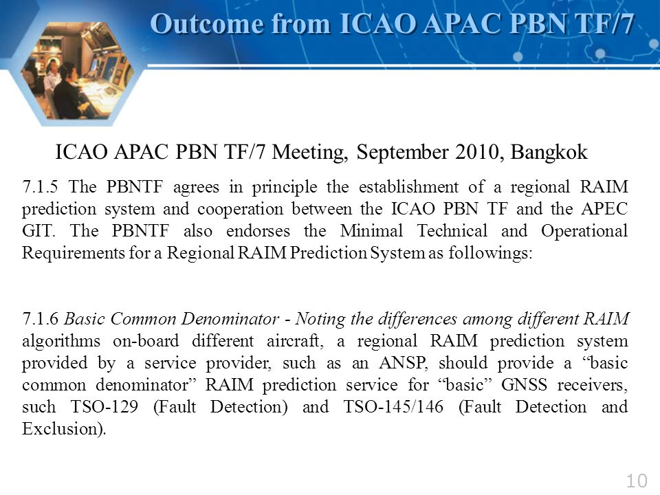 Outcome from ICAO APAC PBN TF/7