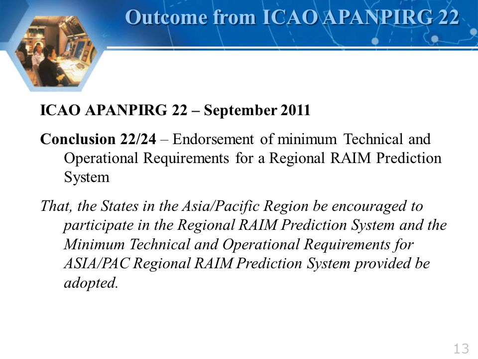 Outcome from ICAO APANPIRG 22