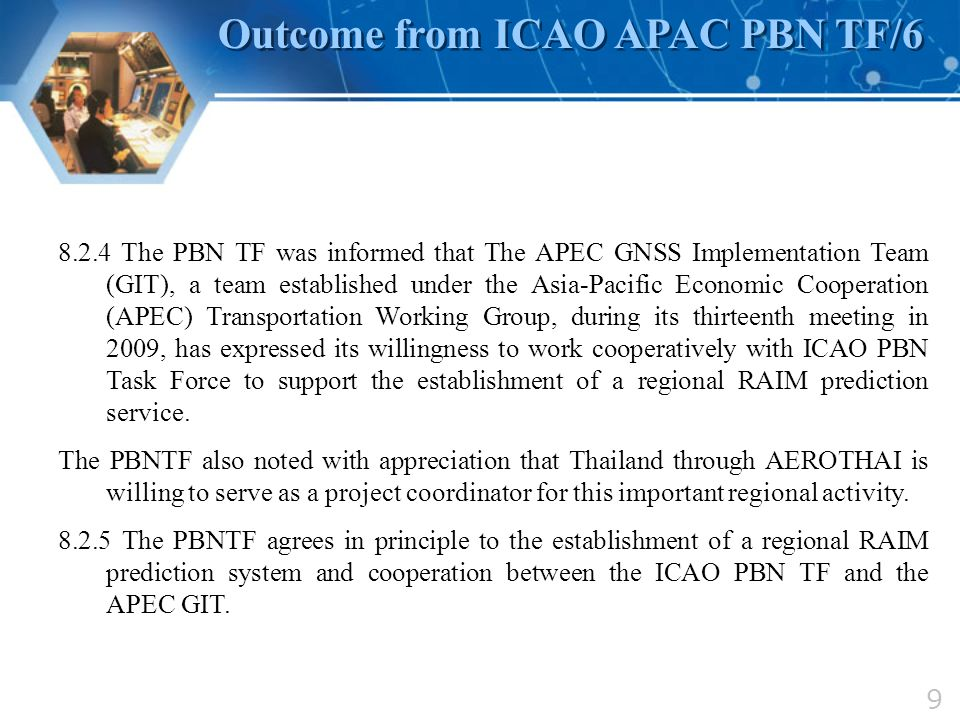 Outcome from ICAO APAC PBN TF/6