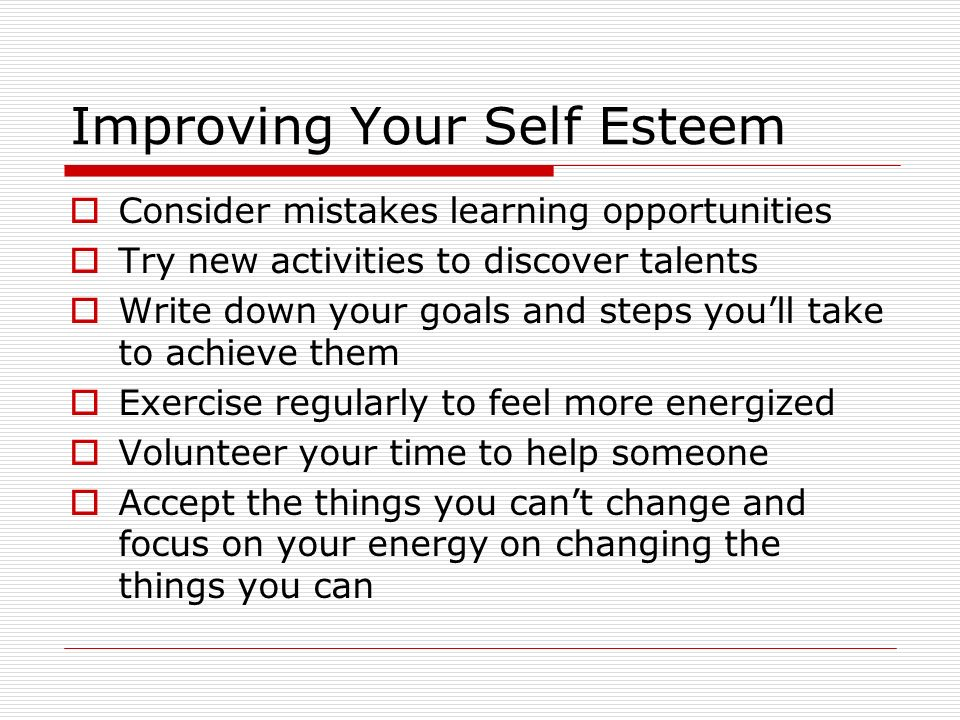 Improving Your Self Esteem
