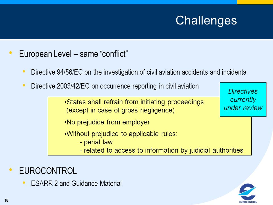 Challenges European Level – same conflict EUROCONTROL