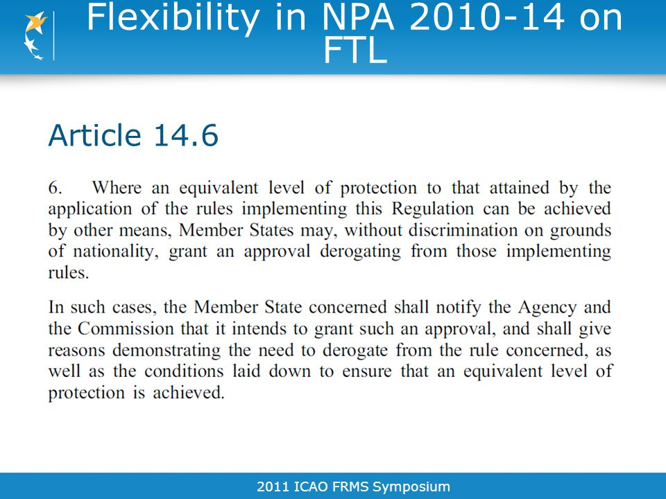 Flexibility in NPA 2010-14 on FTL