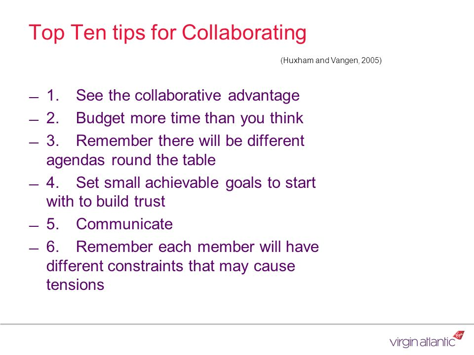 Top Ten tips for Collaborating