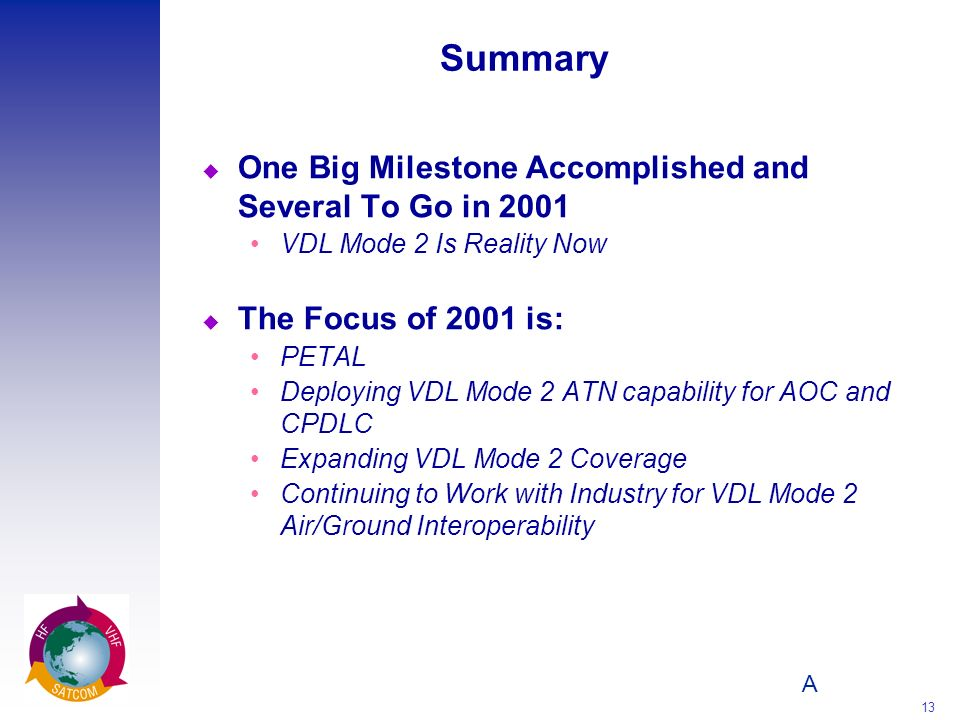 Summary One Big Milestone Accomplished and Several To Go in 2001