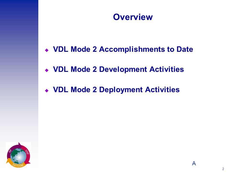 Overview VDL Mode 2 Accomplishments to Date