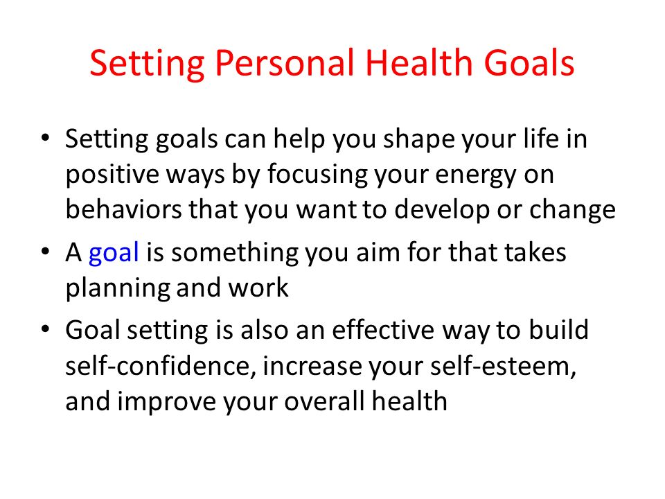 Setting Personal Health Goals