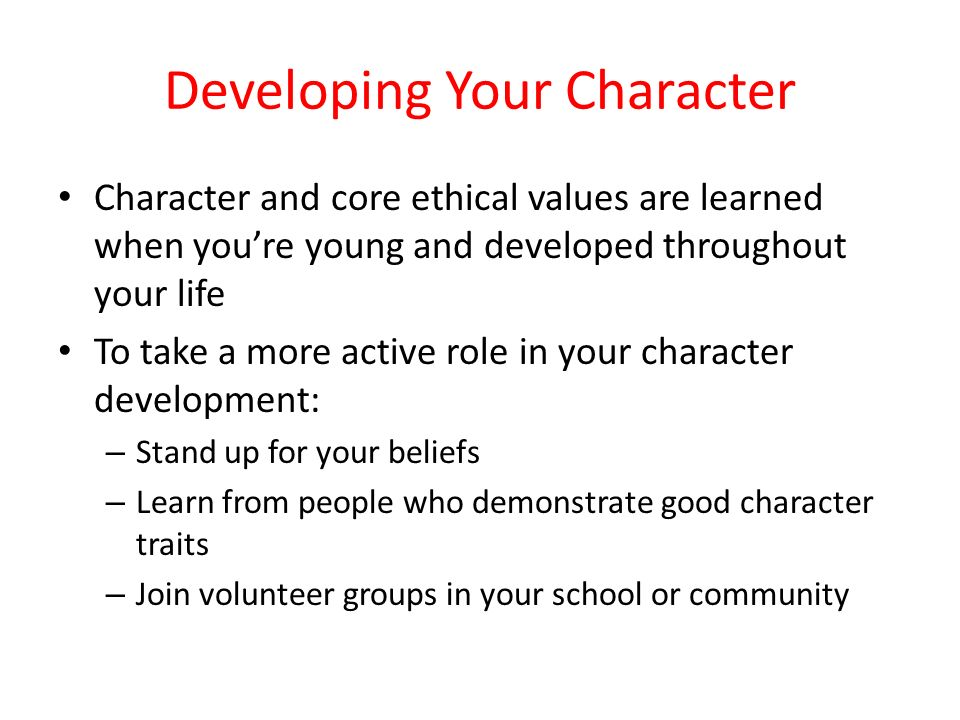 Developing Your Character
