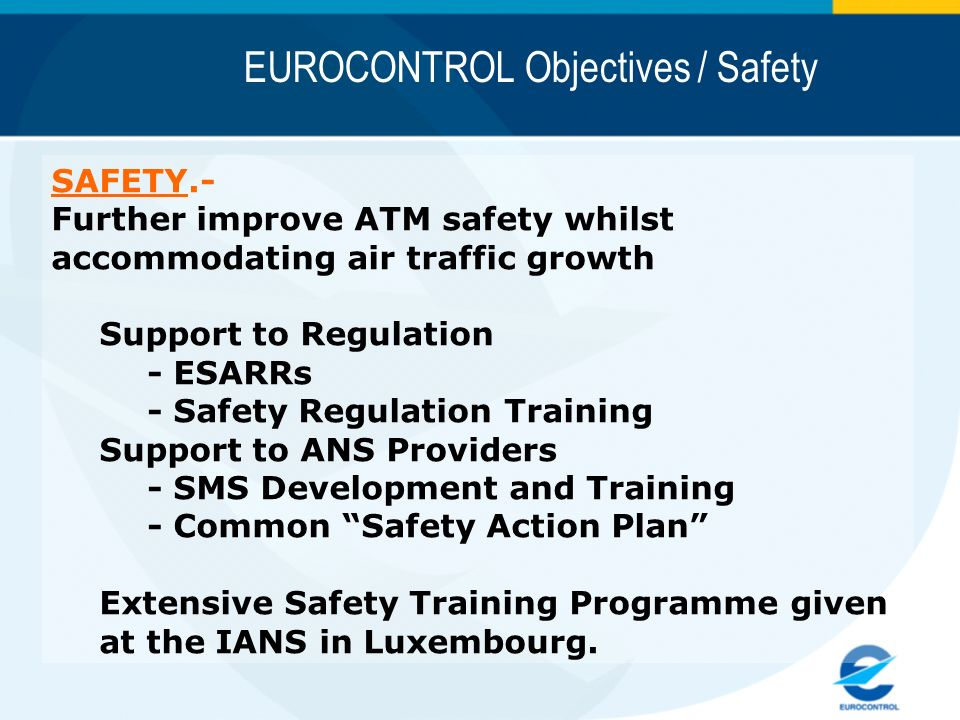 EUROCONTROL Objectives / Safety