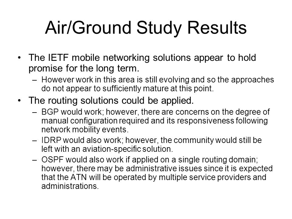 Air/Ground Study Results