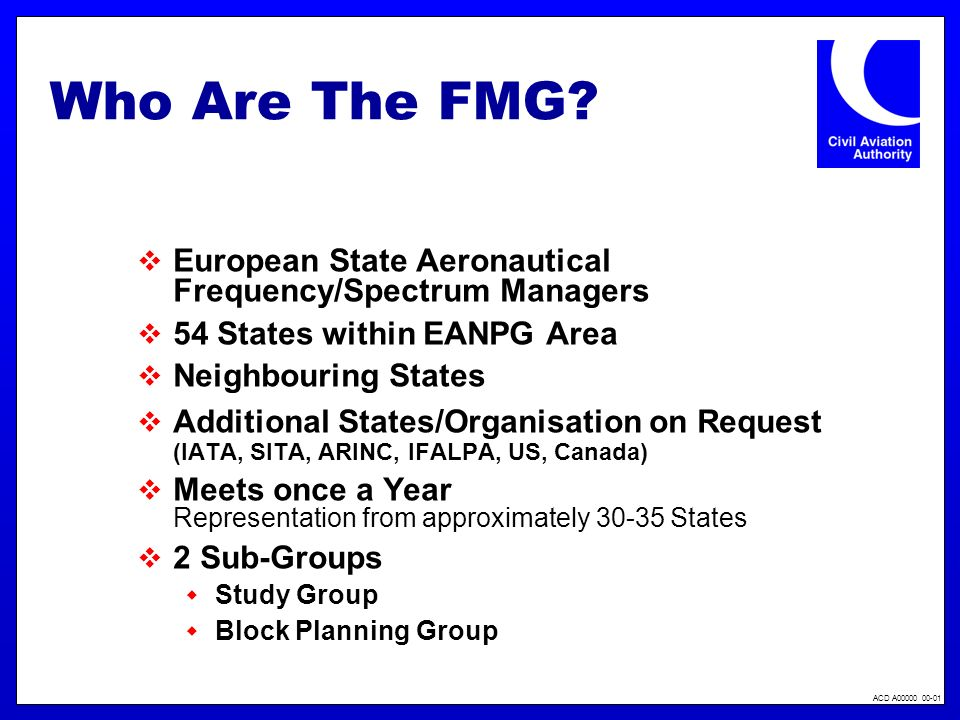 Who Are The FMG European State Aeronautical Frequency/Spectrum Managers. 54 States within EANPG Area.