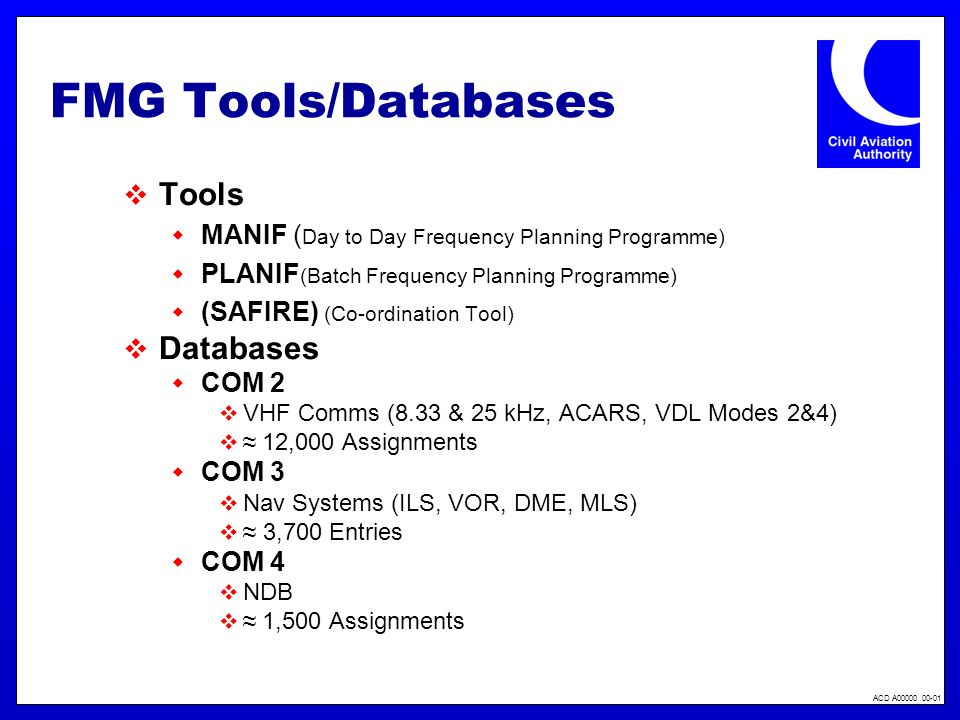 FMG Tools/Databases Tools Databases