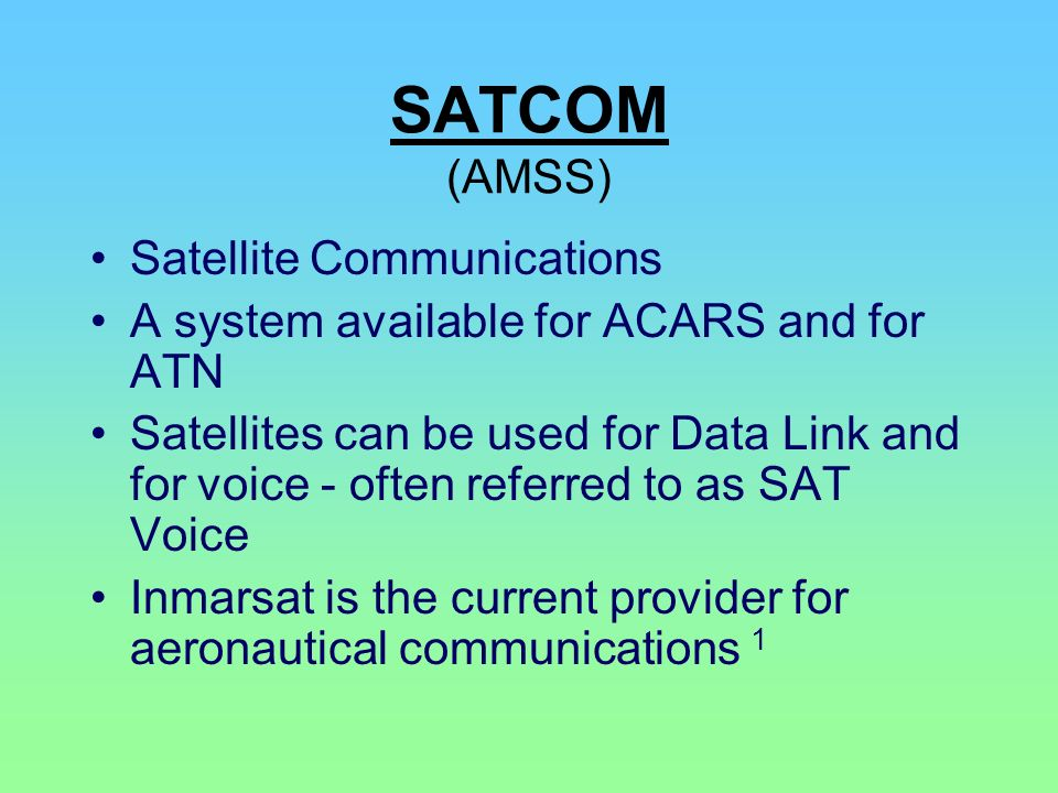 SATCOM (AMSS) Satellite Communications