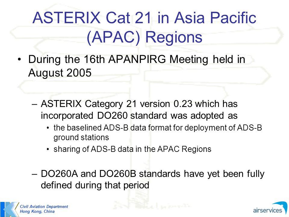 ASTERIX Cat 21 in Asia Pacific (APAC) Regions