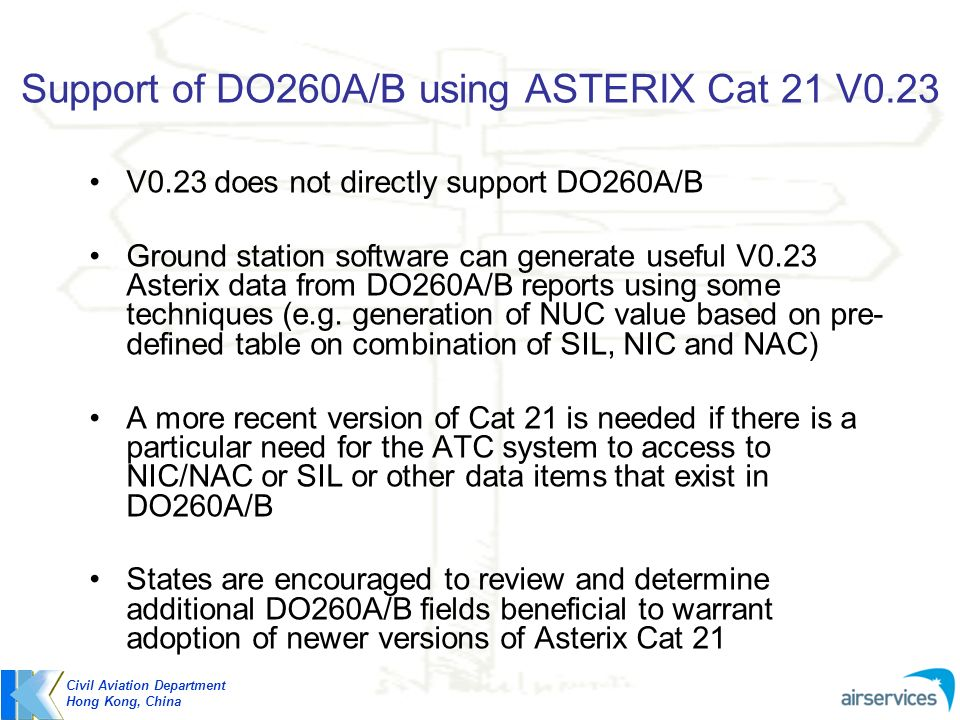 Support of DO260A/B using ASTERIX Cat 21 V0.23