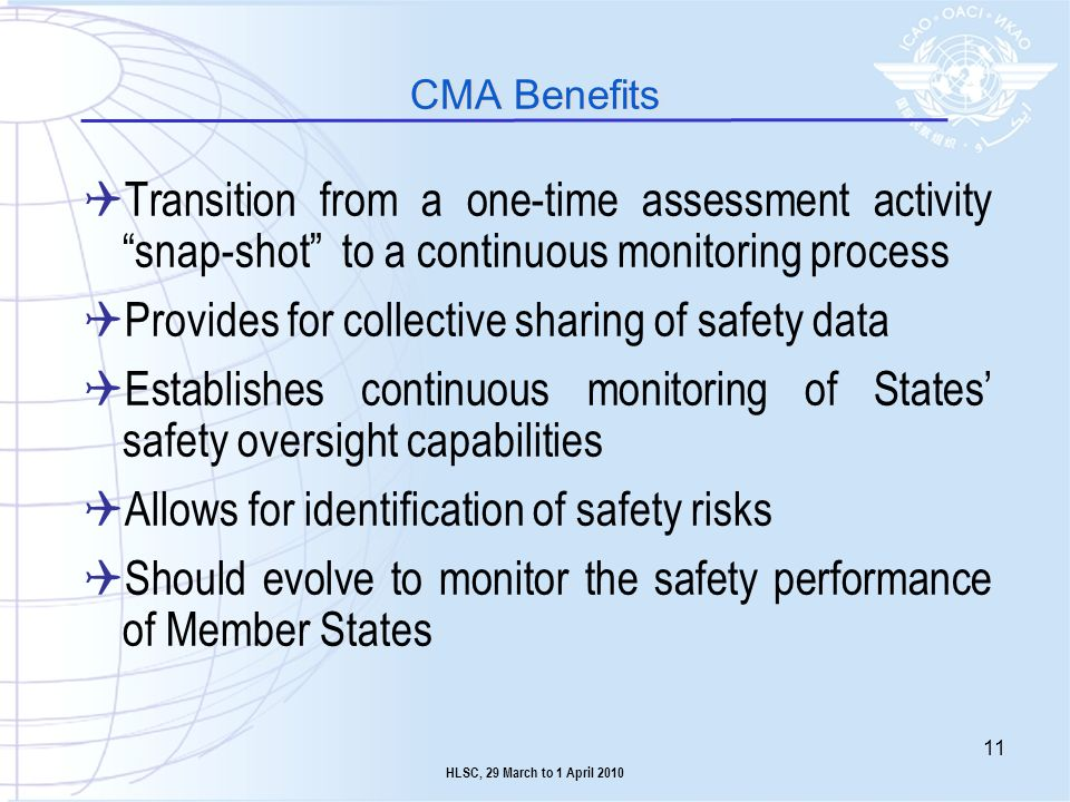 Provides for collective sharing of safety data