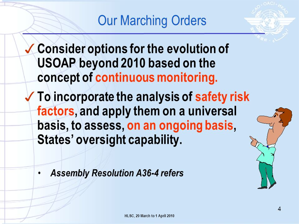 Our Marching Orders Consider options for the evolution of USOAP beyond 2010 based on the concept of continuous monitoring.