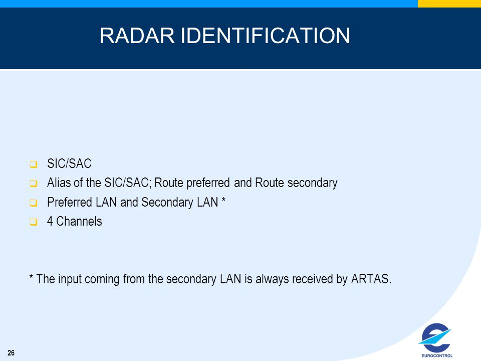 RADAR IDENTIFICATION SIC/SAC