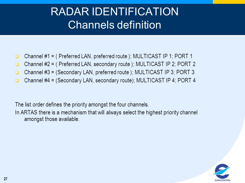 RADAR IDENTIFICATION Channels definition