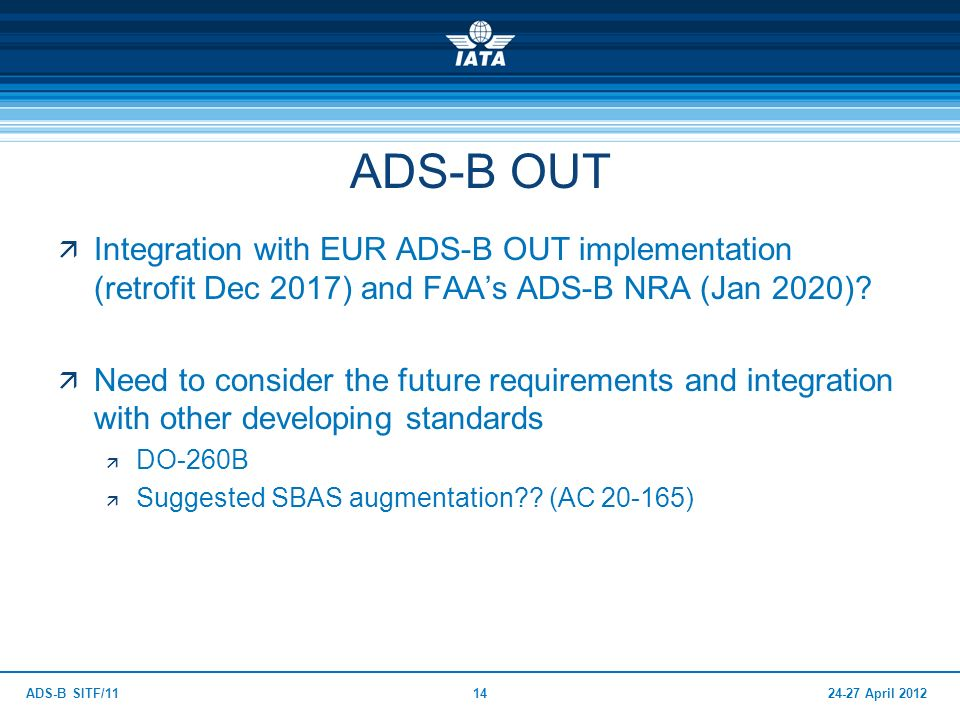ADS-B OUT Integration with EUR ADS-B OUT implementation (retrofit Dec 2017) and FAA's ADS-B NRA (Jan 2020)