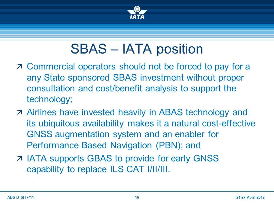 SBAS – IATA position