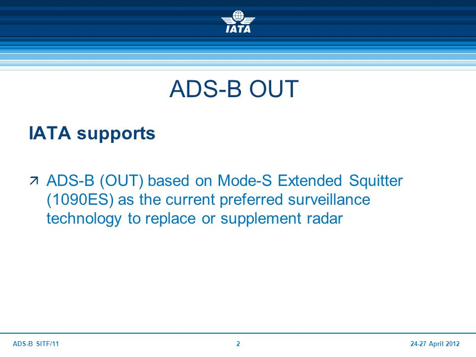 ADS-B OUT IATA supports