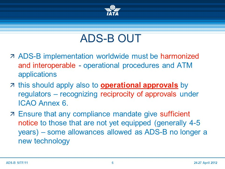 ADS-B OUT ADS-B implementation worldwide must be harmonized and interoperable - operational procedures and ATM applications.