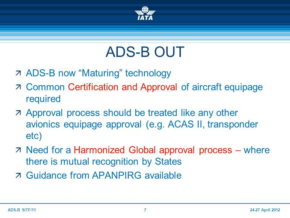 ADS-B OUT ADS-B now Maturing technology