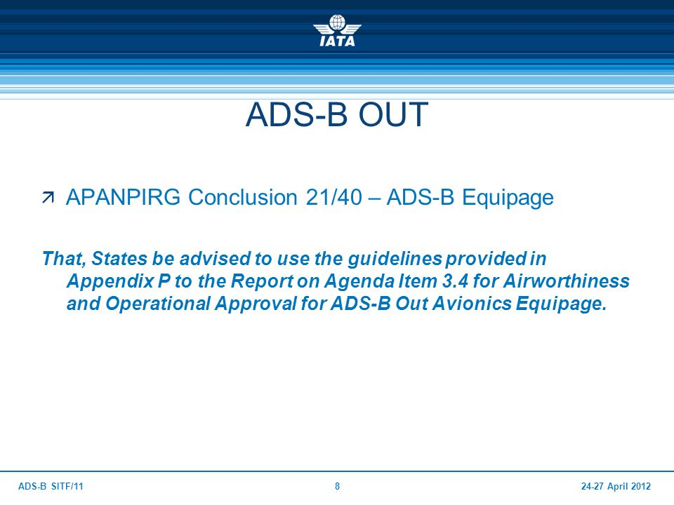ADS-B OUT APANPIRG Conclusion 21/40 – ADS-B Equipage
