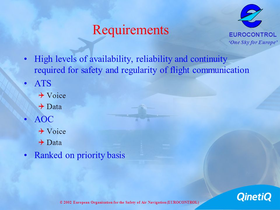Requirements High levels of availability, reliability and continuity required for safety and regularity of flight communication.