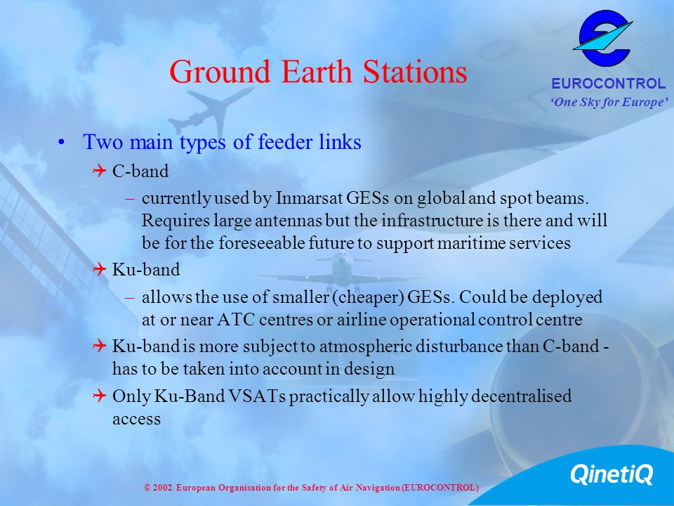 Ground Earth Stations Two main types of feeder links C-band