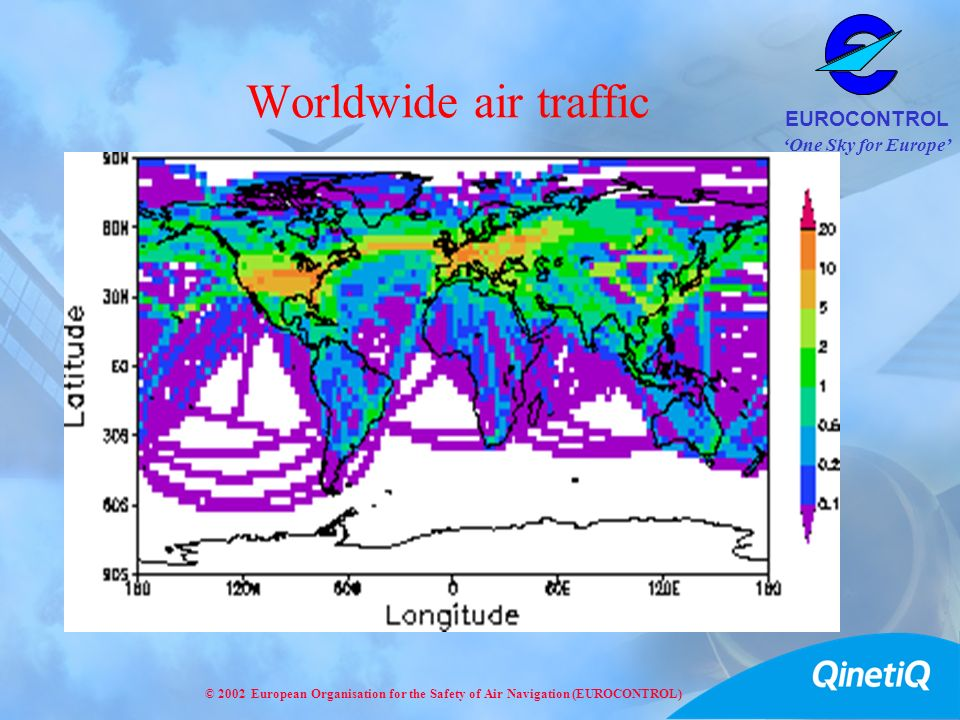 Worldwide air traffic This map is based on the fuel used by aircraft as part of a NASA study (1992).