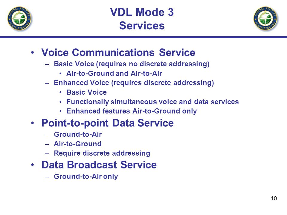 VDL Mode 3 Services Voice Communications Service