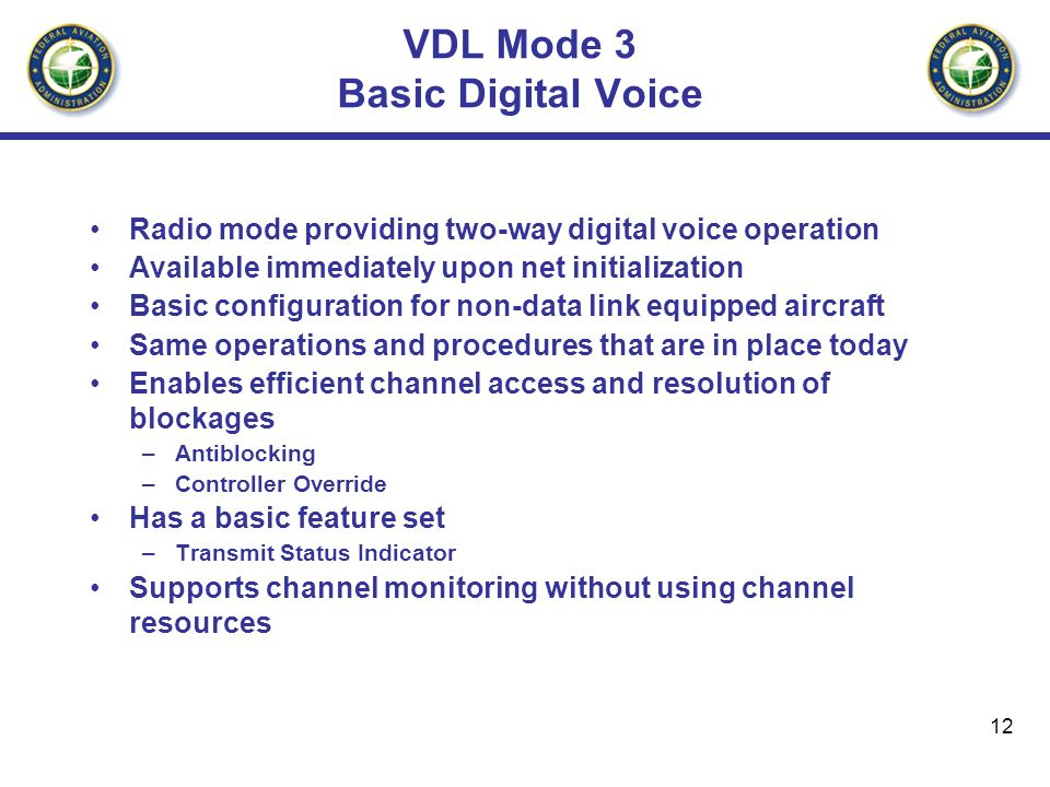 VDL Mode 3 Basic Digital Voice