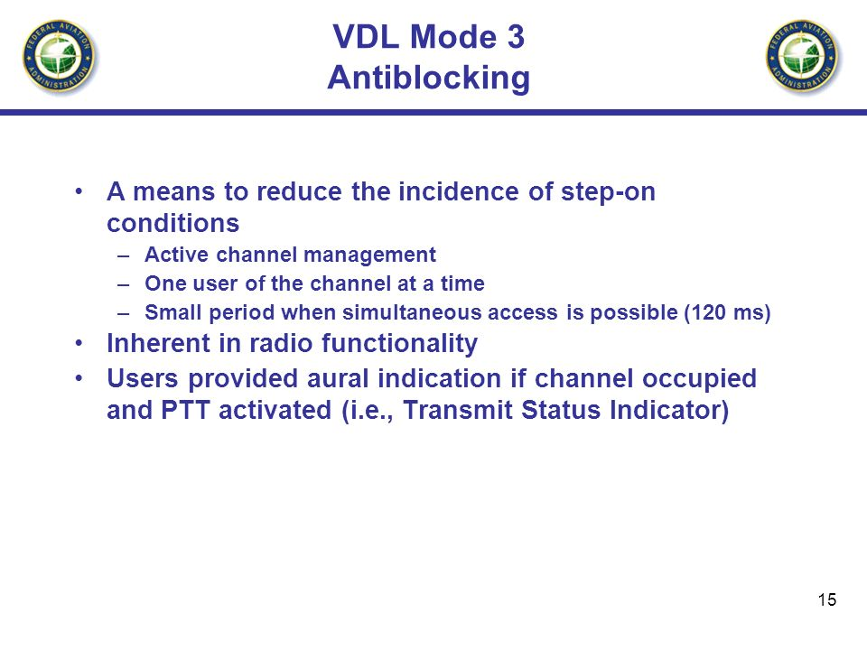 VDL Mode 3 Antiblocking A means to reduce the incidence of step-on conditions. Active channel management.