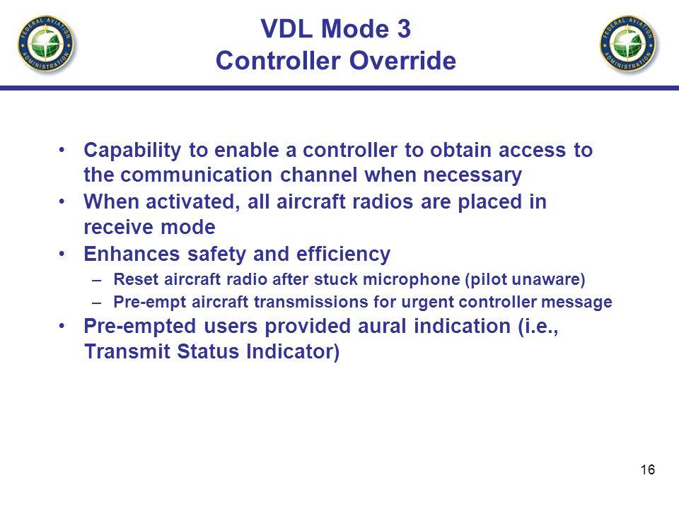 VDL Mode 3 Controller Override