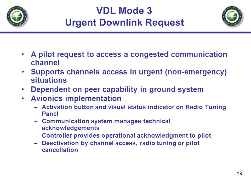 VDL Mode 3 Urgent Downlink Request