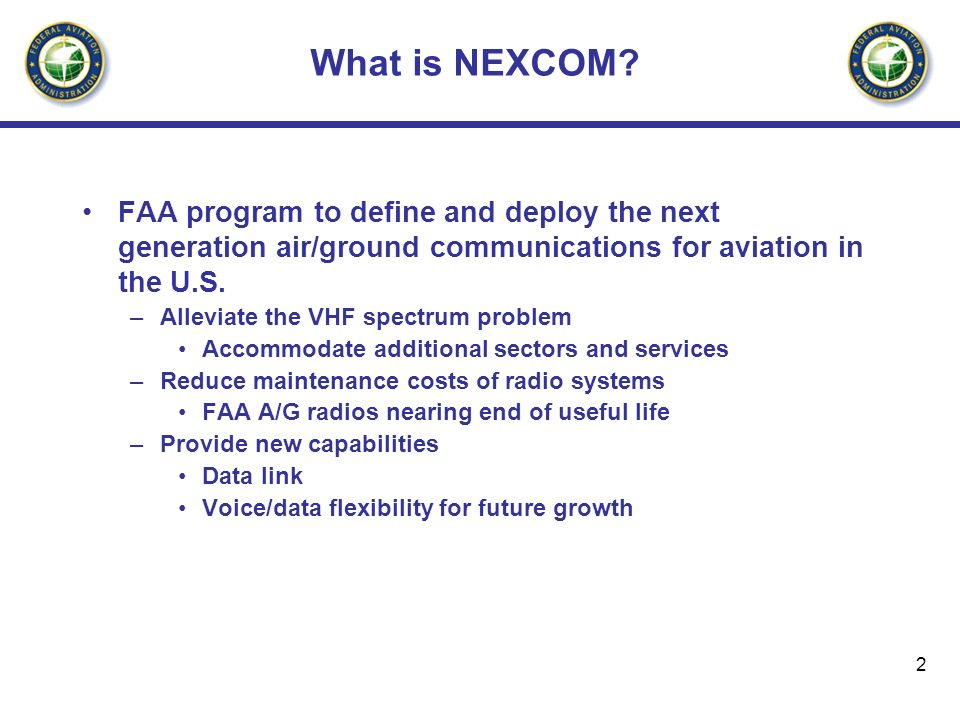 What is NEXCOM FAA program to define and deploy the next generation air/ground communications for aviation in the U.S.