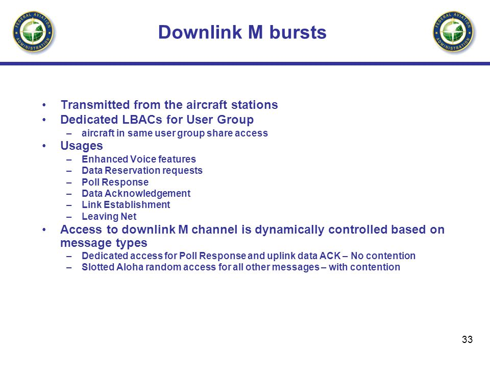 Downlink M bursts Transmitted from the aircraft stations