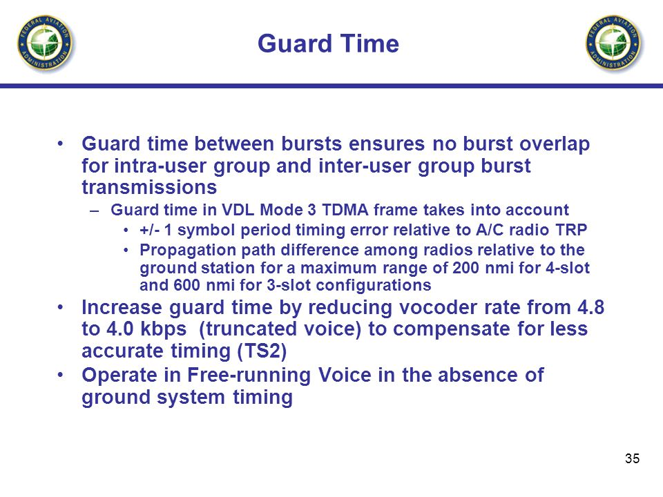 Guard Time Guard time between bursts ensures no burst overlap for intra-user group and inter-user group burst transmissions.