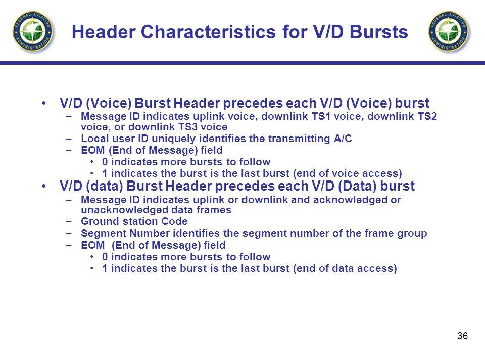 Header Characteristics for V/D Bursts
